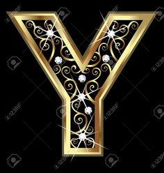 Illustration of Y gold letter with swirly ornaments vector art, clipart and stock vectors. Galaxy Phone Wallpaper, Butterfly Wallpaper, Lettering Design, Hand Lettering, Gold And Black Background, Coloring Letters, Banners, Mickey Mouse Decorations, Stylish Alphabets