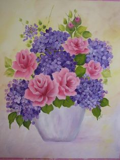 Hand Painted Canvas Pink Roses Purple Hydrangeas by pinkrose1611