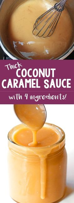 There's NO heavy cream or corn syrup needed for this easy coconut caramel sauce . - There's NO heavy cream or corn syrup needed for this easy coconut caramel sauce recipe! Desserts Végétaliens, Dessert Sauces, Paleo Dessert, Gluten Free Desserts, Dairy Free Recipes, Delicious Desserts, Dessert Recipes, Scd Recipes, Fruit Recipes