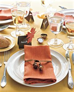 Easy DIY fall-inspired napkin ties. Perfect for Thanksgiving dinner. Even the littlest kids can help with this project...have them help hunt for the perfect acorns.