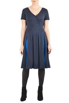 I <3 this Two tone cotton knit surplice dress from eShakti