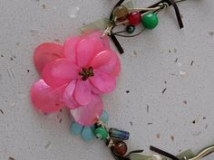 Pink Seashell necklace with colourful glass beads. Fabric necklace perfect for summer. Seashell Necklace, Fabric Necklace, Natural Materials, Colored Glass, Necklace Lengths, Sea Shells, Glass Beads, My Etsy Shop, Unique Jewelry