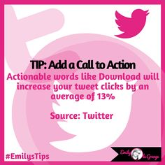 ★#EmilysTips for #Twitter★  Actionable words like Download will increase your tweet clicks by an average of 13%  Source: Twitter   #EmilysTwitterTips #EmilysMarketingTips #TwitterTips #EmilylaGrange  Come join my ➥ #TwitterTuesday Party over on my cover image all day today!
