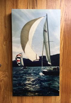 Photograph art canvas print vintage wooden Knickerbocker Class Sailboat on the Hudson River by TARAMBERIC on Etsy