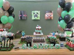 decoração fácil festa minecraft