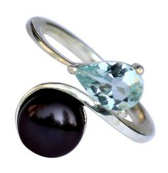 9mm Round Black Pearl And Pear Aquamarine Beautiful Ring On Sterling Silver #Articulate #ValentinesDay