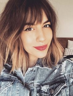 60 Ideas Golden Blonde Hair With Bangs Bangs And Balayage, Hair Color Balayage, Hair Highlights, Golden Blonde Hair, Brunette Hair, Red Hair, Brown Hair, Ombre Hair With Fringe, Balayage With Fringe