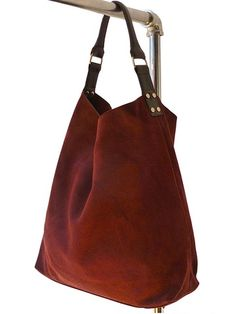 Red Suede Hobo Bag