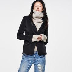G-Star Raw Tatum Boyfriend Blazer ($280) ❤ liked on Polyvore featuring outerwear, jackets, blazers, black, leather jacket, tailored jacket, tailored denim jacket and denim jacket