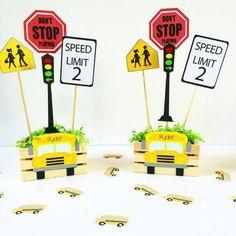 School Bus centerpiece set of 2 School Bus Party by Craftytude
