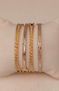 Gold Bangles Design, Golden Jewelry, Jewellery Designs, Bangle Bracelets, Designer Dresses, Fashion Jewelry, Indian, Happy, Bracelets