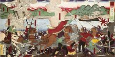 A Japanese rendition of the Battle of Hakodate (函館戦争の図), circa 1880. The cavalry charge, with a sinking sail ship in the background, is led by the leaders of the rebellion, labeled from left to right, Enomoto (Kinjiro) Takeaki, Otori Keisuke, Matsudaira Taro. The samurai in yellow garment is Hijikata Toshizo. French soldiers are shown behind the cavalry charge in white trousers. Imperial troops with modern uniforms are on the right w/ modern steam warship in background  Wikipedia