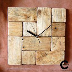 Tetris style pallet wood wall clock. www.etsy.com/shop/CraftyIsland Led Wall Clock, Diy Clock, Rustic Wall Clocks, Wood Clocks, Wood Pallets, Pallet Wood, Pallet Clock, How To Make Wall Clock, Wall Clock Design