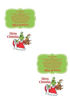 Grinch Pills - Template - 300 dpi - ready to print. More