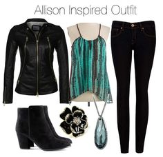 Buffalo David Bitton sleeveless tank top / Real leather jacket, $510 / Ted Baker super skinny jeans, $120 / H zipper boots, $46 / Amrita Singh floral ring / Swarovski chain jewelry