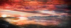 Sunrise behind Lyttelton