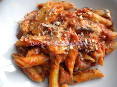 Pates tomate aubergine mozza de Jamie Olivier