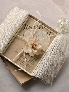 Eco Chic Invitation, Eco Recycling  Invitations,Box Invitation,  Burlap  Wedding Invitations , Rustic Wedding invitation, on Etsy, $10.50