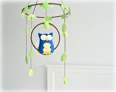 Owl mobile - woodland - baby mobile - You choose your colours - nursery decor - blue and orange - crib mobile. $65.00, via Etsy.