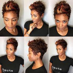 Short Haircuts Ideas : Nice fall inspired pixie via Read the article here blackhairinforma Love Hair, Great Hair, Gorgeous Hair, Beautiful, Short Sassy Hair, Short Hair Cuts, Pixie Cuts, Curly Hair Styles, Natural Hair Styles