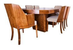Art Deco Suite Sideboard Dining Table and Six Chairs