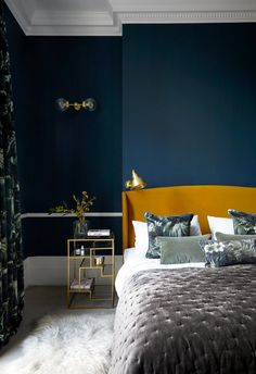Born & Bred Studio Notting Hill Project - The Master Bedroom. #houseofhackney #bedsidetable #endtable #dresser #brassbedsted #sohohome #bedstyling #hagueblue #farrowandball #farrowandballhagueblue #ocreheadboard #mustardheadboard #wallscounce #walllights #bornandbredstudio