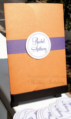 Orange and Purple Wedding Invitation by NeotericExpressions