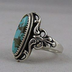 Vintage Turquoise and Sterling Silver Ring Women Size 7 3/4 from San Marcos on Ruby Lane #SterlingSilverStone #SterlingSilverVintage