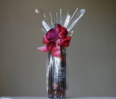 I've just found Clear Cellophane Roll. This bumper roll of cellophane will give your gifts a very chic and upmarket look, is very easy to use when wrapping awkward gifts. Christmas Gift Decorations, Christmas Gift Wrapping, Xmas, Diy Ribbon, Wired Ribbon, Wrapped Wine Bottles, Cellophane Wrap, Fabric Roses, Gift Hampers