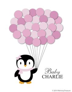 Baby Shower Guest Book Alternative Penguin by MemoryTreasure