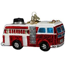 Fire Truck Christmas Ornament 46005 Merck Family's Old World Christmas. What could be better than that childhood favorite - a shiny, red Fire Truck! Toymakers often turned real-life
