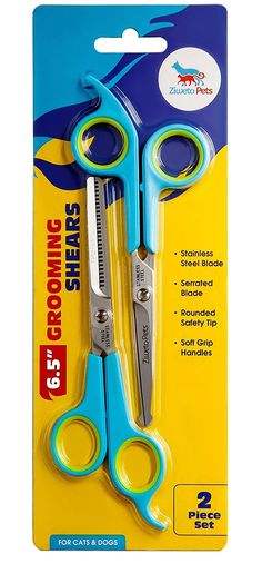 [SAVE 50% OFF] ZIWETO PETS Premium Quality Grooming Scissors Set for Dog and Cats (2 Piece Set Incudes Cutting Shear and Thinning Shear 6.5 inch) with Rounded tips >>> You can find out more details at the link of the image.