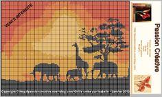 Grille gratuite point de croix: Afrique Girafe Elephant Coucher soleil