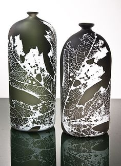 Leaf Bottle by Nick Chase: Art Glass Bottle available at www.artfulhome.com both kinds of bottles