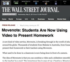 Movenote on The Wall Street Journal... http://online.wsj.com/article/PR-CO-20130508-913839.html