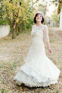 vintage wedding gown http://www.weddingchicks.com/2013/09/30/vintage-pink-and-white-wedding/