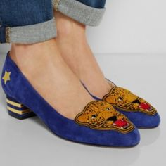 Charlotte Olympia Blue Mascot Wild Cat Suede   38 New Charlotte Olympia Blue Mascot Wild Cat Suede Low Heel Loafer SZ 38 8 $795 Charlotte Olympia Mascot appliquéd suede pumps  Heel measures approximately 35mm/ 1.5 inches. Charlotte Olympia takes inspiration from '50s collegiate style with these softblue suede pumps. Handmade in Italy, this pair is finished with the collection's mascot Bruce in tactile terry and gold stars and stripes. Team yours with rolled-up denim. charlotte olympia Shoes