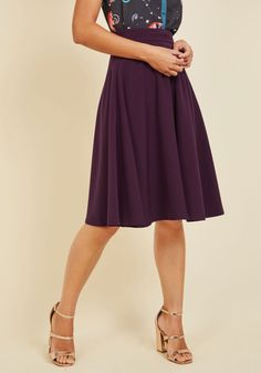 Bugle Joy Midi Skirt in Plum. You hear your friends truck horn toot outside your window - your trumpet call to scoot this A-line skirt out the door and hop in! #purple #modcloth