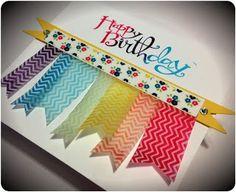 Ribbons & Julz: Chevrons anyone?  #stampin'Up!, #chevrons, #cardmaking, #SassySalutations, #birthday, #happybirthday, #flags, #GardenGigham, #WashiTape