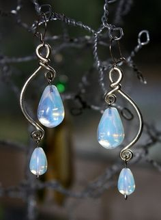Opalite & Alpaca Wire Earrings by Amorio Designs Wire Jewelry Earrings, Wire Wrapped Earrings, Metal Jewelry, Beaded Earrings, Earrings Handmade, Beaded Jewelry, Jewelery, Handmade Jewelry, Gold Earrings
