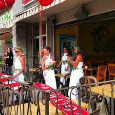 "Waitresses at Greek Restaurant ""The Olympia"" dressed in togas for Lindsay LipDub"