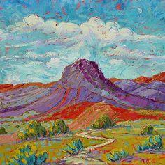 """Road to Santuario de Cabezon, 36""""x36"""" by Michelle Chrisman Oil ~ 36"""" x 36"""""""