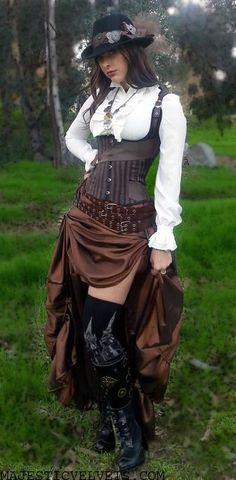 Brown Black Striped Steampunk Corset with Ruffled Taffeta Skirt