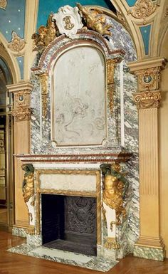 Extraordinary monumental fireplace signed by Jules Allard and Louis Ardisson from Berwind Estate, Fifth Avenue, New York – Marble – Wanderlust Stone Mantel, Fireplace Mantle, Fireplace Surrounds, Fireplace Design, Marble House, Vintage Fireplace, Architectural Antiques, Hearth, Facade