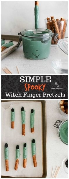 4 ingredients is all it takes to make some spooky looking edible witch finger pretzels. Great activity for little kids! #halloween #halloweenfood #partyfood #halloweencrafts Black Food Coloring, Gel Food Coloring, Witches Fingers, Easy Party Food, Halloween 2020, Halloween Treats, Diy Halloween, Halloween Decorations, Sliced Almonds