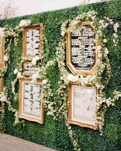 A Whimsical Malibu Wedding Inspired by the Greatest Love Stories | Martha Stewart Weddings - Inspired by Snow White, guests' names were written on various gold-rimmed mirrors that were displayed on a wall of greenery and adorned with flowers.