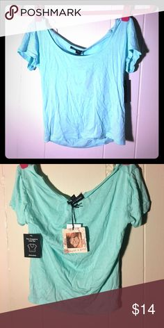 NWT Blue crop top New with tags! From kohl's!  Super in style and price is negotiable (: can be worn as a shirt if you're tiny like me. It's like blue/teal. Price is super negotiable!!! Tops Crop Tops