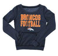 Denver Broncos Women's Navy Garment Wash Scoop Neck Fleece Pullover Crew