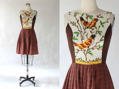 1960s Bird Print Day Dress // 60s Vintage Short by COCOVINTAGES
