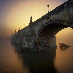 -Morning Glow- by Marek Kijevský - Photo 153843499 - Places To Travel, Places To Go, Charles Bridge, Prague Czech, City Architecture, Eurotrip, Tower Bridge, Czech Republic, Cool Art